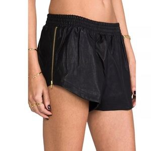 MINKPINK Zip Vegan Leather Black Boxer Shorts